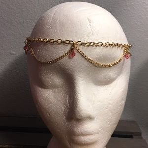 Gold Tone Chain with Pink Beads Jewelry Headband
